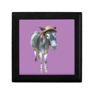 Caja De Regalo Violeta el burro en gorra de paja con las flores