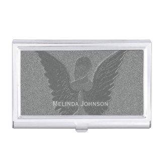 Caja de tarjeta de plata sutil del ángel de guarda caja de tarjetas de negocios