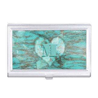 Caja de tarjeta del corazón de la turquesa cajas de tarjetas de negocios