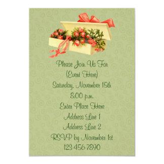 Caja del arte del vintage de invitación floral de