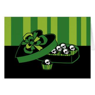 Caja del caramelo del cráneo tarjeta de felicitación