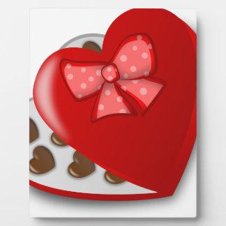 Caja del corazón del chocolate placa expositora