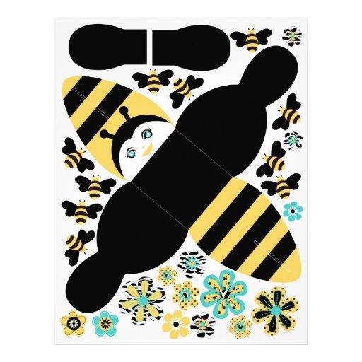 Caja del favor de fiesta de la abeja del cumpleaño flyer a todo color
