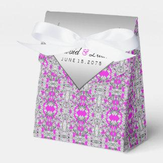 Caja del favor de la bodas de plata fucsia y