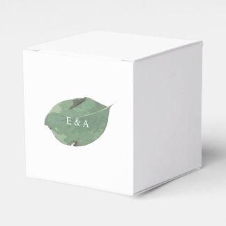 Caja del favor del boda de la hoja de la acuarela