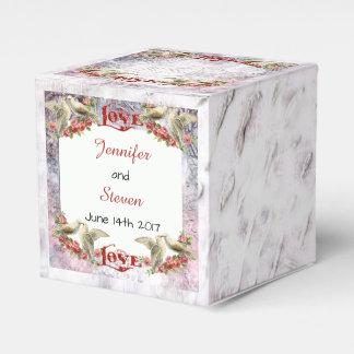 Caja del favor del boda de la paloma del vintage
