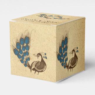 Caja del favor del boda del monograma del pavo