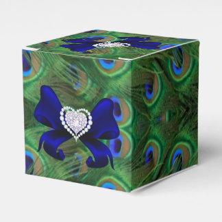 Caja del favor del boda del pavo real del azul