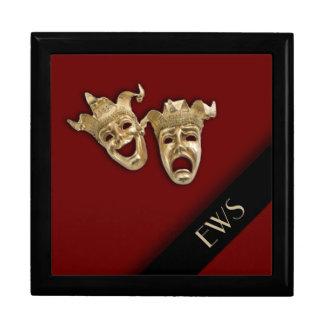 Caja del monograma de las máscaras del teatro de joyero cuadrado grande