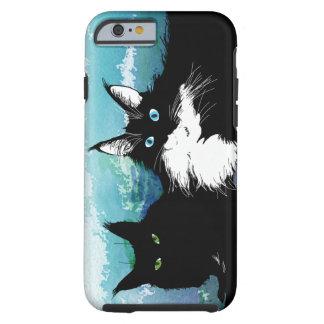 Caja del teléfono de dos gatos funda resistente iPhone 6