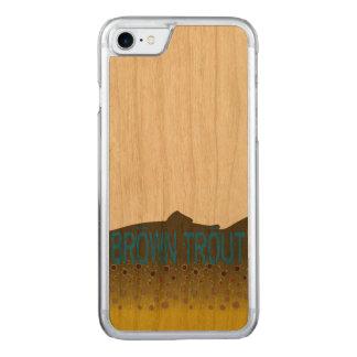 Caja del teléfono de la trucha de Brown Funda Para iPhone 8/7 De Carved