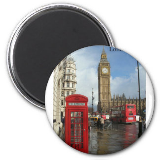Caja del teléfono de Londres Big Ben (por St.K) Imán Redondo 5 Cm