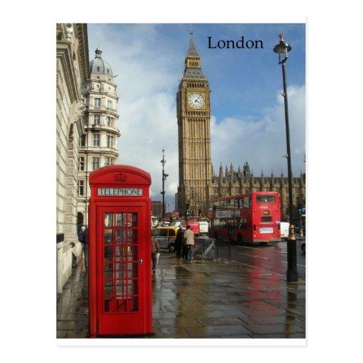 Caja del teléfono de Londres Big Ben (por St.K) Tarjeta Postal