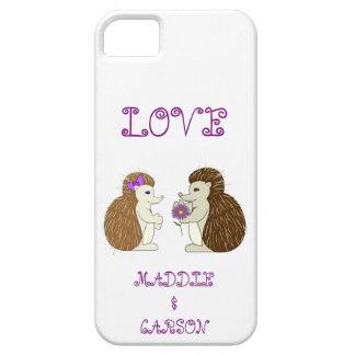 Caja del teléfono de los erizos del amor iPhone 5 protector