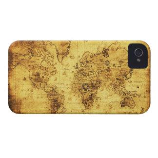 Caja del teléfono del mapa del mundo del oro viejo iPhone 4 Case-Mate cárcasas