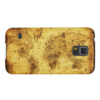 Caja del teléfono del mapa del mundo del oro viejo fundas para galaxy s5