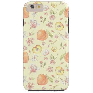 Caja del teléfono del melocotón y de la magnolia funda resistente iPhone 6 plus