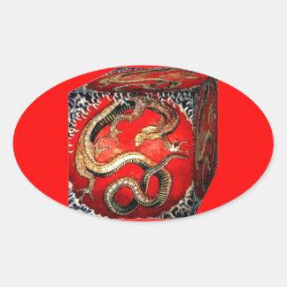 Caja del tesoro del dragón por los sharles calcomanías de ovaladas