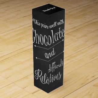 Caja del vino del chocolate y del fiesta de la