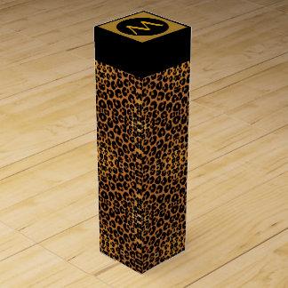 Caja del vino del estampado leopardo