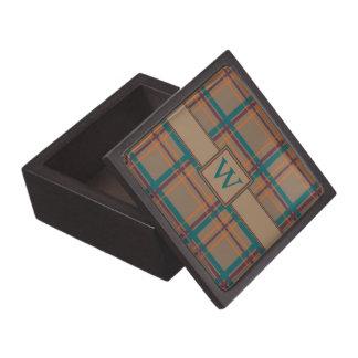 Caja elegante de la baratija de la tela escocesa