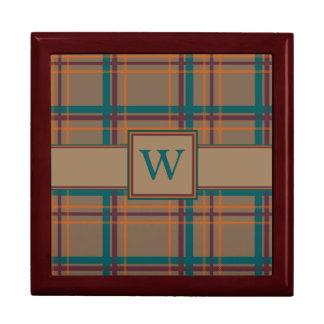 Caja elegante de la teja de la tela escocesa del