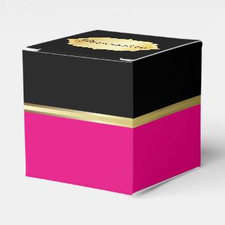 Caja elegante del favor del negro y de las rosas