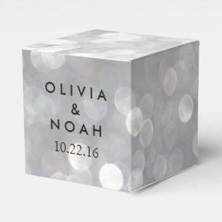 Caja elegante gris moderna del favor del boda de