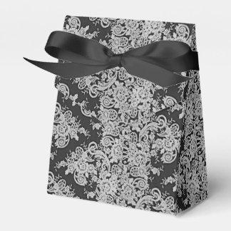 Caja fina floral oscura del favor del boda de la