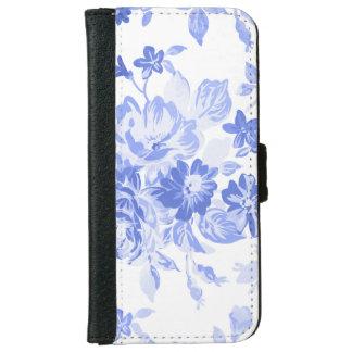 Caja floral blanca y azul de la cartera del iPhone