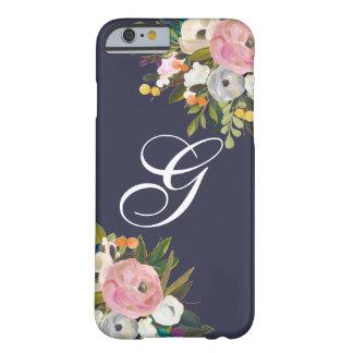 Caja floral con monograma del teléfono funda barely there iPhone 6