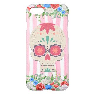 Caja floral del cráneo del azúcar funda para iPhone 7