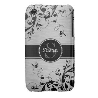Caja floral negra de plata del iPhone 3G de los iPhone 3 Carcasas