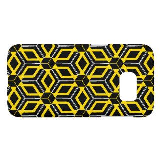 Caja geométrica negra y amarilla del modelo funda samsung galaxy s7
