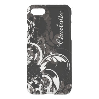 Caja infrecuente floral blanca negra para el funda para iPhone 7