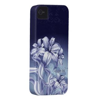 Caja intrépida de Blackberry de la orquídea azul iPhone 4 Case-Mate Cárcasas