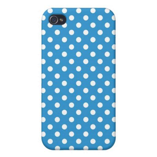 Caja media azul de Iphone 4 del lunar del Regatta iPhone 4 Cárcasa