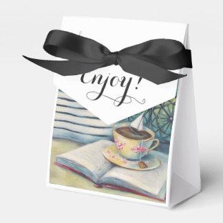 Caja minúscula del favor de la taza de té - negro