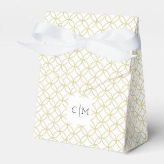 Caja moderna geométrica del favor del boda del oro