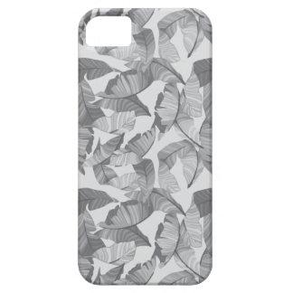 Caja moderna gris del teléfono de la hoja tropical funda para iPhone SE/5/5s