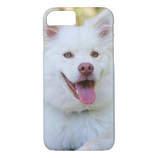 Caja mullida blanca linda del iPhone del perro Funda Para iPhone 8/7