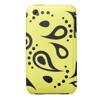 Caja negra/amarilla retra de Paisley iPhone 3 Case-Mate Carcasa