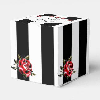 Caja negra del favor del boda del rosa blanco y