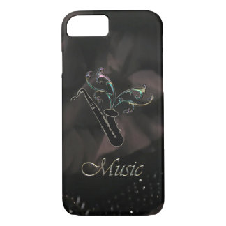 Caja negra elegante del iPhone 7 del saxofón Funda iPhone 7