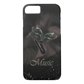 Caja negra elegante del iPhone 7 del saxofón Funda Para iPhone 8/7