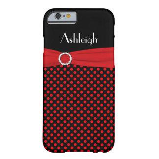 Caja negra, roja personalizada del iPhone 6 del Funda Para iPhone 6 Barely There
