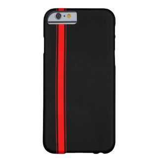 Caja negra y roja del iPhone 6 de la raya que Funda Barely There iPhone 6