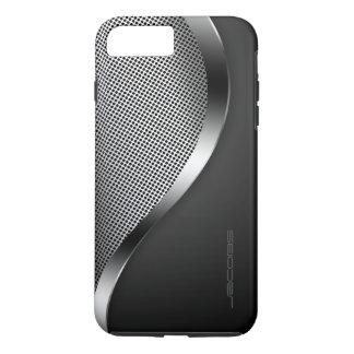 caja oscura con la placa y los tornillos funda iPhone 7 plus