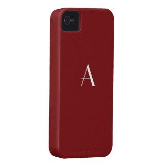 Caja oscura del monograma del color rojo iPhone4 Carcasa Para iPhone 4 De Case-Mate