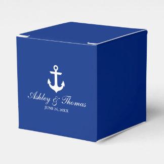 Caja Para Regalos Azul náutico del ancla del boda personalizado